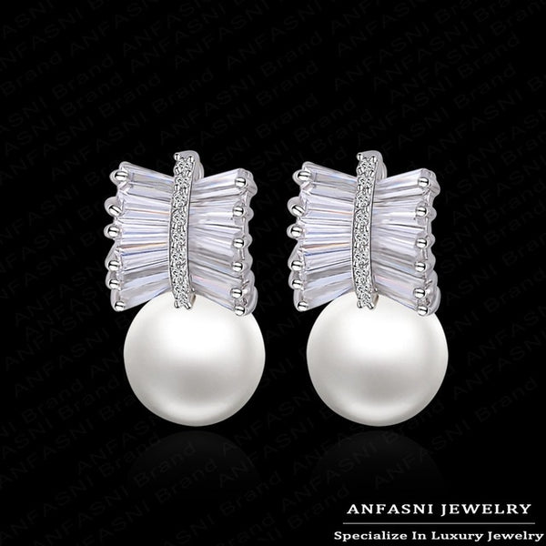 ANFASNI Charming Popular Women Pearl Earring AAA Cubic Zirconia Earrings