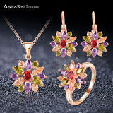 ANFASNI Rose Gold Jewelry Sets Women Multicolor AAA Zircon Luxury Elegant Jewelry Gift