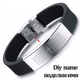 Stainless Steel Black Silicone Bracelets Men Punk Cross Bracelets & Bangles Wide Bangle Engrave Name