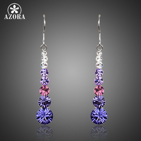 AZORA Multicolour Round Stellux Austrian Crystal Wedding Drop Women Earrings