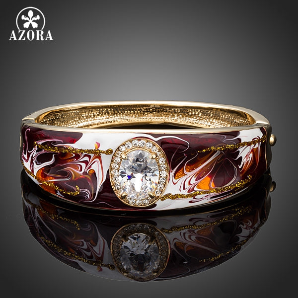 AZORA Oil Painting Pattern Gold Color Clear Cubic Zirconia Cuff Bangle Bracelet