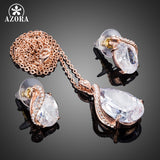 Rose Gold Clear Waterdrop Clear Cubic Zirconia Stud Earrings Pendant Necklace Jewelry Sets