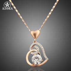 AZORA Rose Gold Color Stellux Crystals Heart Pendant Necklace Valentine's Day Gift of Love