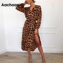 Leopard Vintage Long Beach Dress Loose Long Sleeve V-neck A-line Party Dresses