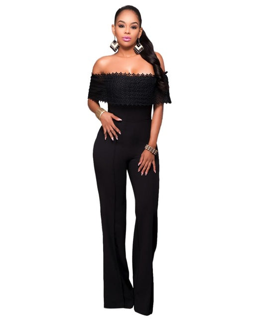 eb661a8f60 Adogirl Women Ruffles Lace Off Shoulder Party Jumpsuit Sexy Wide Legs –  Fashion Flippes