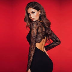 Summer Lace Long Sleeve Bandage Dress Hollow Out Black Club Midi Celebrity Party Dress