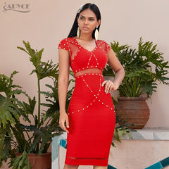 Summer Red Lace Bandage Dress Hollow Out Bodycon Club Evening Runway Party Dresses