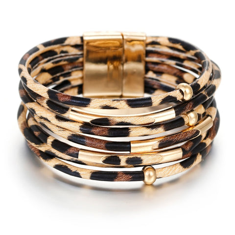 Amorcome Leopard Leather Women Bracelets Bangles Multilayer Wide Wrap Bracelet Jewelry