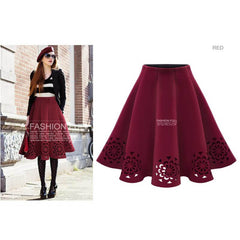 Women Spring Autumn Solid Burning Flowers Hollow Out Tutu Skirts Casual Vintage Midi Skirt