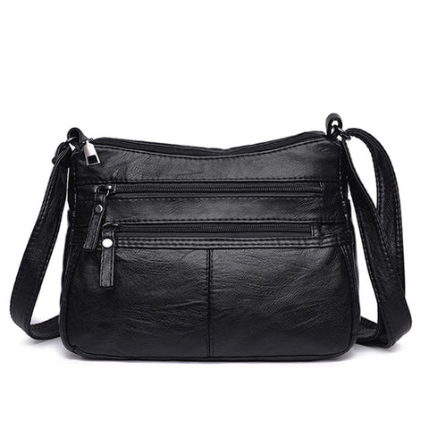 Women Soft Bag PU Leather Shoulder Black Washed Leather Crossbody Bag Purse