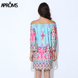Aproms Bohemian Elegant Summer Dress Boho Off Shoulder Beach Tunic European Sundress