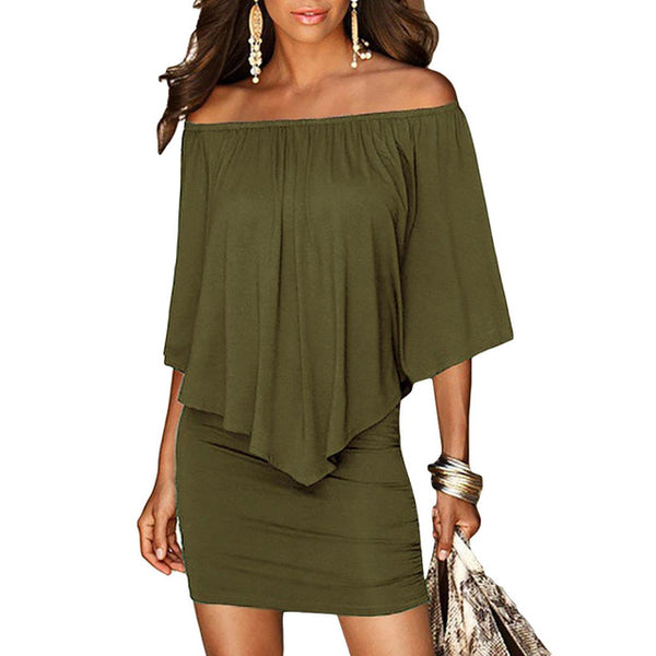 Army Green Slash Neck Mini Dress Off Shoulder Black White Beach Casual Dress