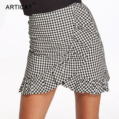 Ruffles Plaid Skirt Women High Waist A-line Split Zipper Bodycon Pencil Streetwear Mini Skirt