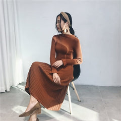 Autumn O-neck Flare Sleeve Women Long Sweater Elastic A-line Female Pleated Knitted Dress