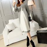 Autumn Winter Women Sweater Gray White Patchwork Long Sleeve Casual Midi Dress