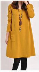 Autumn Winter Korean Women Casual Dress Long Sleeve Pockets Big Size Bottom Dress