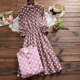 Autumn Winter Vintage New Women Long Sleeve Polka Dot Printed Corduroy Dress