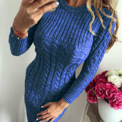 Autumn Winter Warm Women Knitted Sweater Long Sleeve O-neck Sexy Bodycon Party Dress