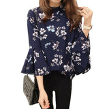 Autumn Women Floral Chiffon Blouse Flare Sleeve Shirts Office Fashion Tops