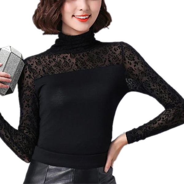 Autumn Women Black Blouse Feather/Rose/Polka Dot/Jacquard Lace Shirts Stretchy Turtleneck Tops Clothes