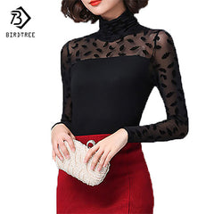 Autumn Black Blouse Feather/Rose/Polka Dot/Jacquard Lace Shirts Stretch Turtleneck Tops