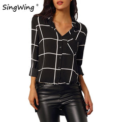 Autumn Women Printed Plaid Blouse Shirts Long Sleeve Stand Neck Shirts Tops