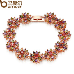 BAMOER Rose Gold Bridal Jewelry Sets for Women Wedding High Quality AAA Zircon