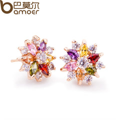 Gold Color Gold Star Stud Earrings Multicolor Zircon Stone Women Birthday Gift Jewelry
