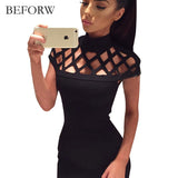 BEFORW Sexy Summer Casual Bodycon Dresses Big Size Mini Club White Black Bandage Pencil Dress