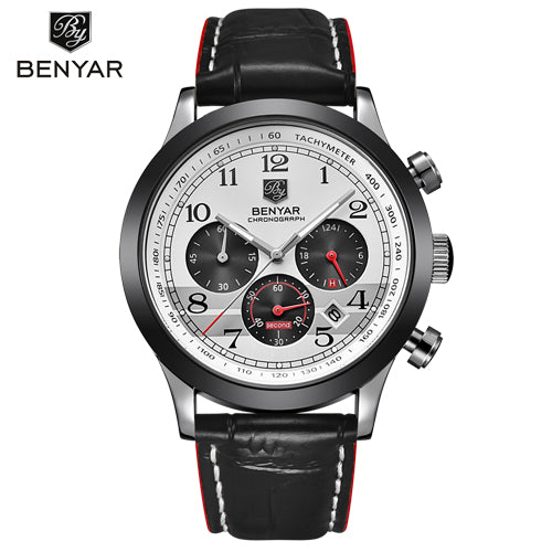 BENYAR Sport Men Watch Luxury Leather Waterproof Chronograph Quartz Military Wrist Watch Clock