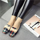 Women's Shoes Spring New Flats Plaid Cotton Fabric Bow Square Toe Slip-On Flat Casual Shoes