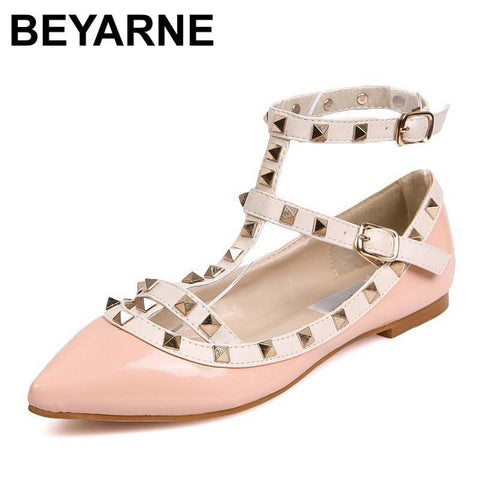 Casual Women Pointed Toe Rivet Flat Bottom Shoes Slip On Valentine Flats  Candy Color ...