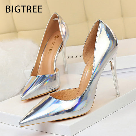 Women Pumps High Heels Shoes Stiletto Wedding Silver Party Shoes High Heels