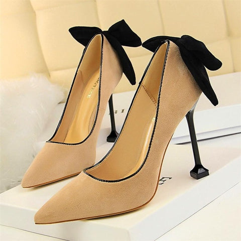 Solid Black Butterfly-knot Women Shoes Pointed Toe Flock Show Thin Shallow High Heels Shoes