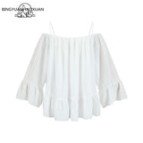 Frilled Lettuece Trim Bardot Neck Lantern Sleeve Off Shoulder Summer Blouse Shirts Blouses Tops