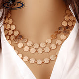 Ethnic Coins Necklace Leaves Triangle Bar Round Chokers Statement Necklace Multilayer Vintage Jewelry