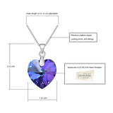 BeBella Classic Heart Pendant Necklace Crystals Austria Thin Box Chain Women Gift