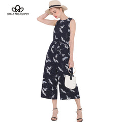 Bella Philosophy Summer Bird Print O-neck Sleeveless Belt Sashes Ankle-length Jumpsuits