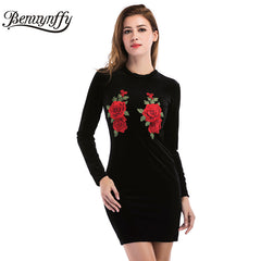 Benuynffy Vintage Embroidery Dress Casual Back Zipper Velvet Long Sleeve Bodycon Mini Dress
