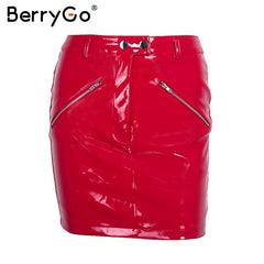 Autumn Vintage Zipper Faux Leather Skirt Streetwear Metal Button Black Pencil Red Women Skirts