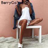 BerryGo Backless Chiffon Halter Jumpsuit Romper Ruffle Sleeveless Short Playsuit Summer Casual Overalls