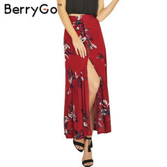 Boho Print Long Skirt Women Split Maxi Skirt Floral Beach Chic Vintage Summer Skirt Vacation