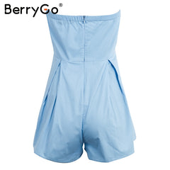 BerryGo Bow Ruched Tube Top Jumpsuit Romper Casual High Waist Short Overalls Summer Playsuit