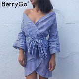 V Neck Long Sleeve Women Dress Shirt Off Shoulder Bow Tie Plaid Dress Stripe Short Vestidos Summer Dress