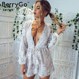BerryGo Deep V Sequin Playsuit Tassel Short Bodysuit Summer Jumpsuit Embroidery Leotard