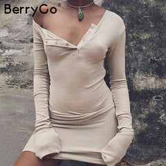 One Shoulder Bodycon Dress Slim Long Sleeve Evening Party White Women Autumn Winter Black Dress