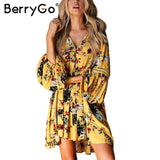 Hollow Out Boho Summer Dress Women Vintage Loose Lace Lantern Sleeve Ruffle Flower Print Dress