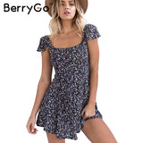 BerryGo Floral Print Short Dress Backless High Waist Summer Vintage Back Strap Boho Beach Dress