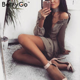 BerryGo Off Shoulder Long Sleeve Beach Summer Dress Short Chiffon Vintage Ruffle Dress