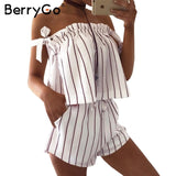 BerryGo Off Shoulder Stripe Jumpsuit Romper White Strap Backless Bow Overalls Summer Playsuit